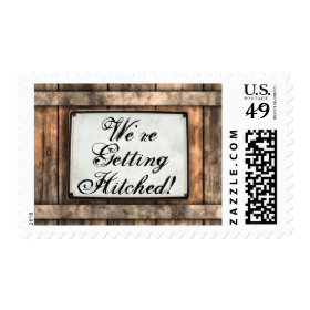Getting Hitched Rustic Wedding Postage Stamps