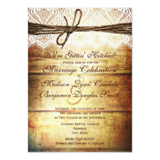 Getting Hitched Rustic Wood Wedding Invitations