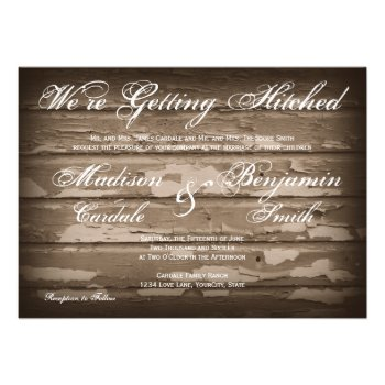 Getting Hitched Rustic Wood Wedding Invitations Announcements