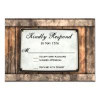Getting Hitched Rustic Wood Wedding RSVP Cards (<em>$1.95</em>)
