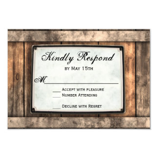 Getting Hitched Rustic Wood Wedding RSVP Cards