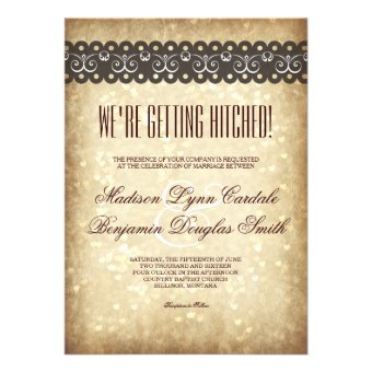Getting Hitched Vintage Sparkle Wedding Invitations