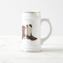 getting hitched western cowboy boots wedding beer stein