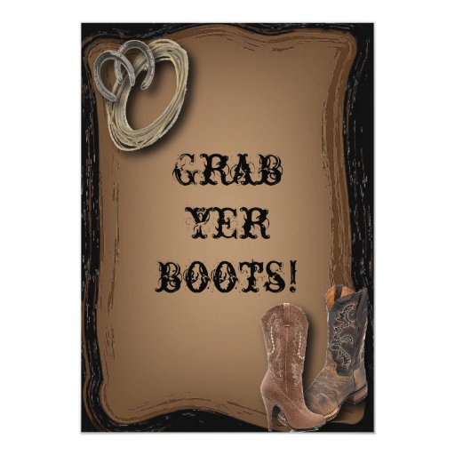 getting hitched western cowboy boots wedding card