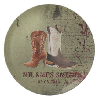 getting hitched western cowboy boots wedding dinner plate