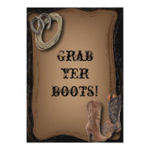getting hitched western cowboy boots wedding invitation