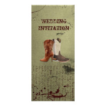 getting hitched western cowboy boots wedding rack card