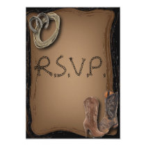 getting hitched western cowboy boots wedding RSVP Card