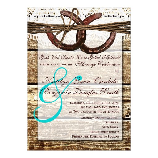 "Getting Hitched Wood Horseshoes Wedding Invites 4.5"" X 6 ..."