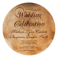 Getting Hitched Wood Tree Rings Wedding Invitation