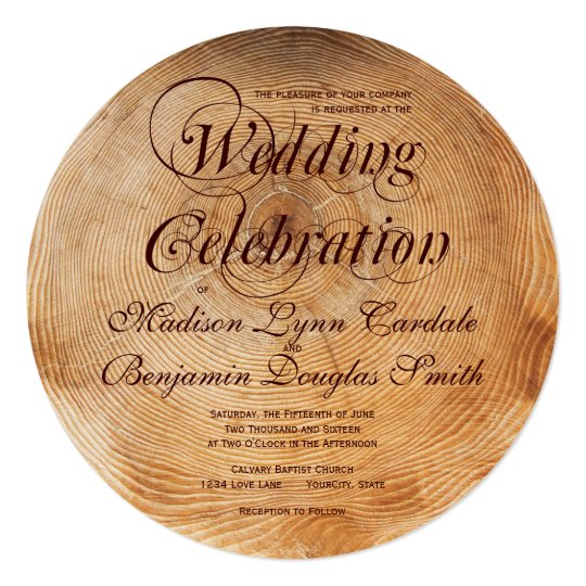 Hitched Wedding Invitations: Getting Hitched Wood Tree Rings Wedding Invitation