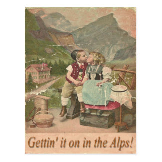 Getting It On In The Swiss Alps Vintage Post Card. Postcard