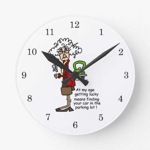 Getting Lucky Humor Round Clock