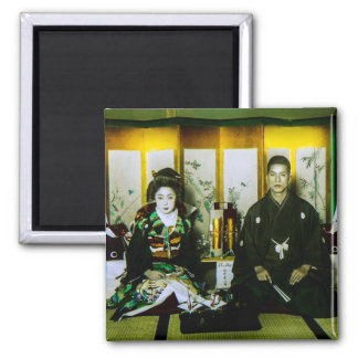 Getting Married in Old Japan The Happy Couple 2 Inch Square Magnet