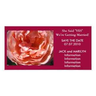 Getting Married Save the Date cards Pink Rose Photo Card Template