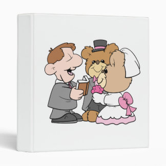 getting married teddy bear wedding couple 3 ring binder