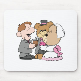 getting married teddy bear wedding couple mouse pad