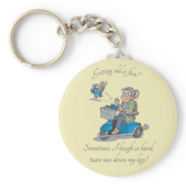 Getting Old Funny Over the Hill Keychain
