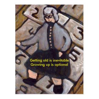 GETTING OLD IS INEVITABLE GROWING UP IS OPTIONAL POSTCARD