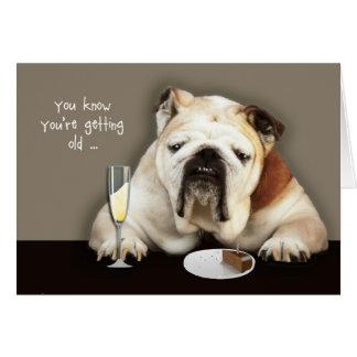 getting older, funny birthday card, dog card