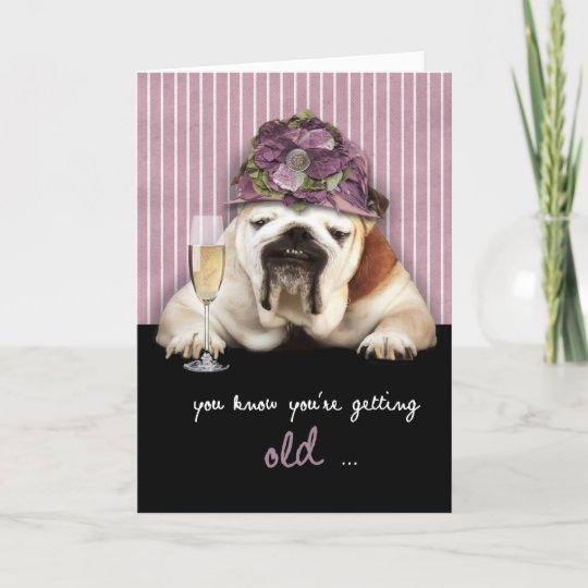 getting older, happy birthday, funny dog, pink hat card
