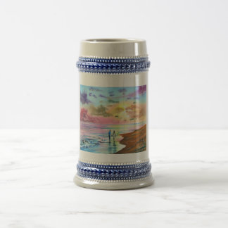 Getting our feet wet sunset beach painting beer stein