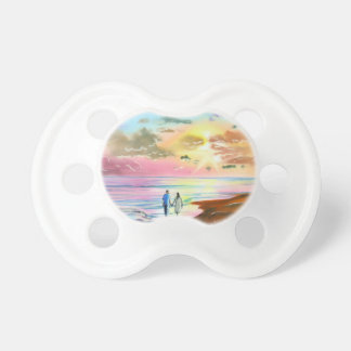 Getting our feet wet sunset beach painting BooginHead pacifier