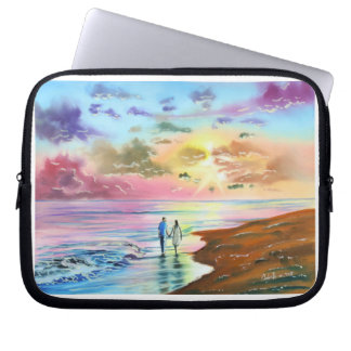 Getting our feet wet sunset beach painting computer sleeve