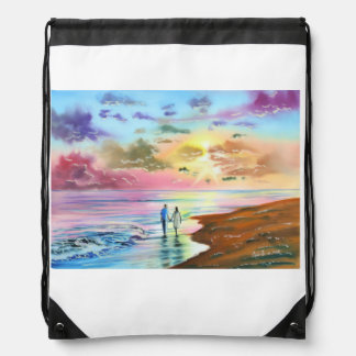 Getting our feet wet sunset beach painting drawstring bag
