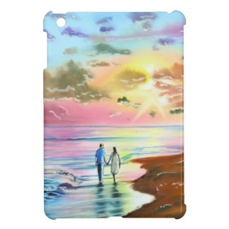 Getting our feet wet sunset beach painting iPad mini cases