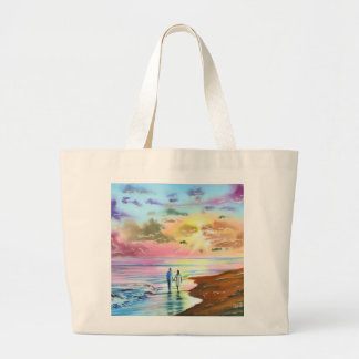 Getting our feet wet sunset beach painting large tote bag
