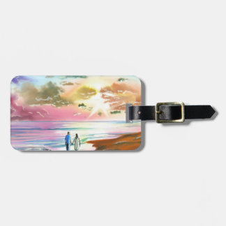 Getting our feet wet sunset beach painting luggage tag