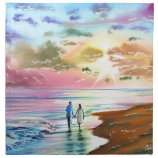 Getting our feet wet sunset beach painting napkin