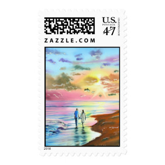 Getting our feet wet sunset beach painting postage