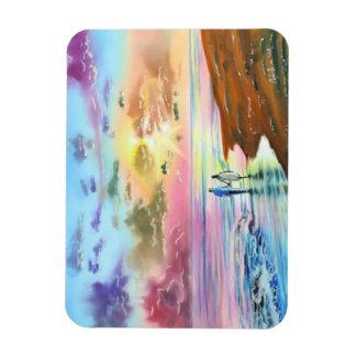 Getting our feet wet sunset beach painting rectangular photo magnet