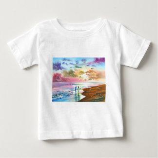 Getting our feet wet sunset beach painting t-shirt