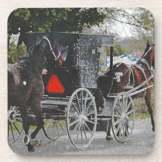Getting the new horse home. #amish #horse drink coaster