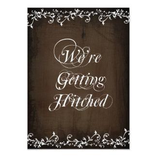 Gettting enganchó invitaciones rústicas del boda invitación 11,4 x 15,8 cm