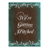 Gettting Hitched Aqua Brown Wedding Invitations