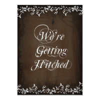 Gettting Hitched Rustic Brown Wedding Invitations 4.5&quot; X 6.25&quot; Invitation Card (<em>$2.38</em>)