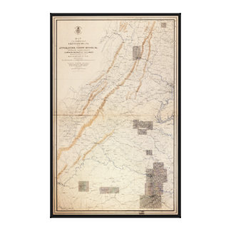 Gettysburg and Appomattox Court House Map (1869) Canvas Print