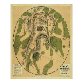 Gettysburg Battle Map 1863 - Civil War Poster
