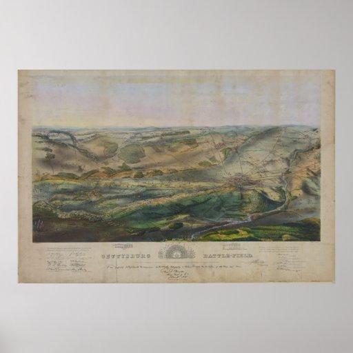 Gettysburg Battlefield by John Badger Bachelder Print
