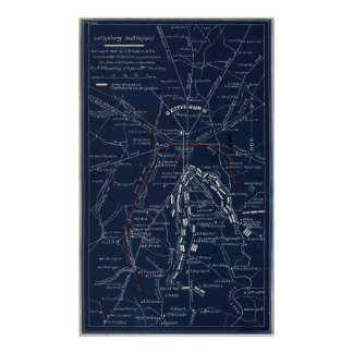 Gettysburg Battlefield Civil War Map (1863) Poster