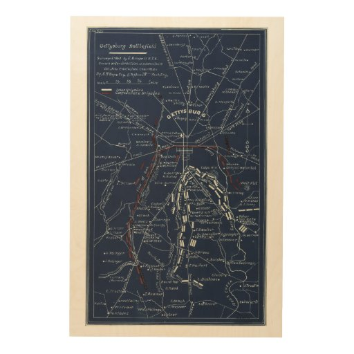 Gettysburg Battlefield Civil War Map (1863) Wood Wall Art