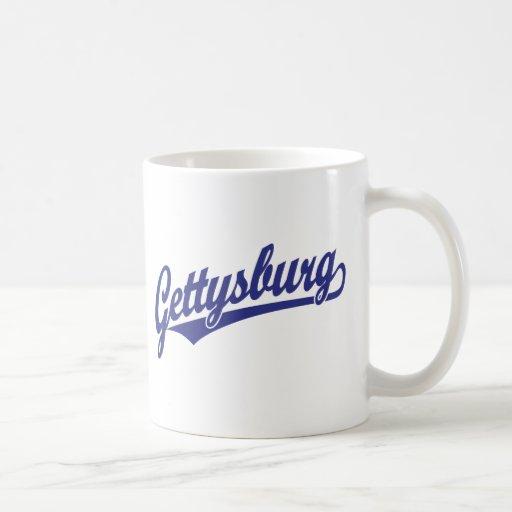 Gettysburg script logo in blue coffee mug