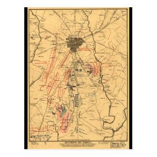 Gettysburg & Vicinity Troop Positions July 3 1863 Postcard