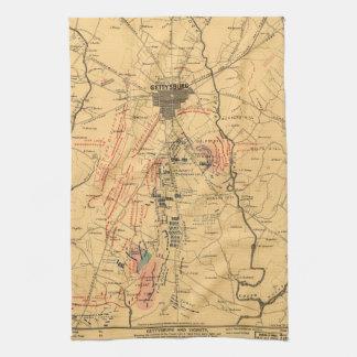 Gettysburg & Vicinity Troop Positions July 3 1863 Towel