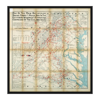 Gettysburg, Wilderness & Appomattox Civil War Map Canvas Print