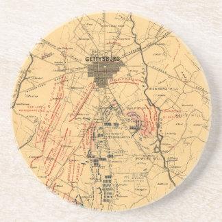 Gettysburg y vecindad tropa posiciones 3 de julio posavasos cerveza